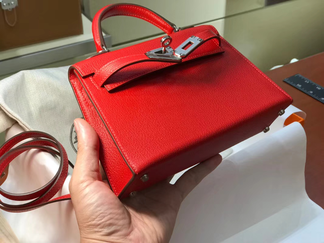 HERMES 爱马仕 Mini Kelly || 20cm 山羊皮 Q5 国旗红 Rouge Casaque